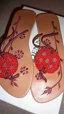 Boutique BEIGE RED CORAL Flats UK 7 40 Chic Flip Flops Shoes Sandals Retro FAB!!