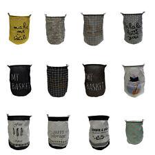Foldable Washing Clothes Basket Canvas Sorter Laundry Bag Storage Hamper