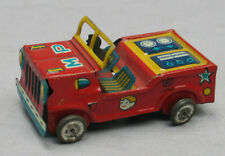 Vintage Small Tin MP Jeep with Tin Driver  Made in Japan - Penny Toy