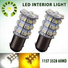 2x Dual White/Amber 1157 BAY15D 60 SMD LED Back Up Reverse Light Bulbs 1076 7528