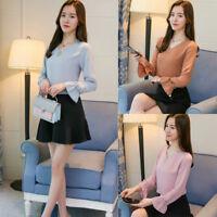 Korean Women V Neck Flare Sleeve Tops Slim Loose Office Shirt Work Career Blouse
