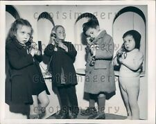 1948 Darling French Children Talk to Santa on Telephones Press Photo
