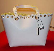 Nine West Scallop Tote Bag Cream Color PVC Large $40.- NWT Free/Ship