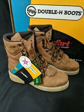 NOS Rare Double H Vintage Lacer Leather Western Boots Lace Up Mens 8 USA Made