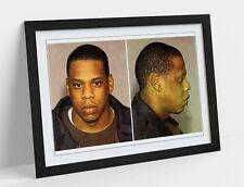 JAY Z MUGSHOT -ART FRAMED POSTER PICTURE PRINT ARTWORK- GREY BLACK