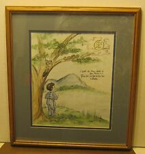 Wonderful Watercolor & Ink Painting LITTLE BOY & MOON Signed L ADAMS Framed! NR!