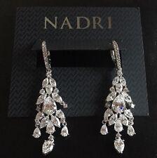 Nadri Crystal Dangle Drop Silver-Tone Earrings NWT MSRP $135 Gift