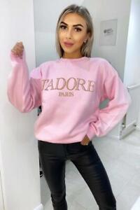 "Damen Oversized ""j'adore Paris"" Print Slogan Pullover Top"