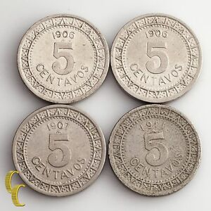 1906-1911-M Mexico 5 Centavos Lot of (4) Coins