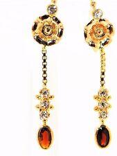 Antique rose gold garnet and white sapphire earrings dangle 22 k handmade