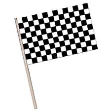 Black & White Chequer Check Flag Grand Prix Car Racing Party Flag 15cm x 10cm