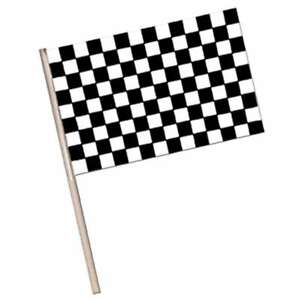 Black & White Check Waver Party Flag 15cm x 10cm - Grand Prix Car Racing Party