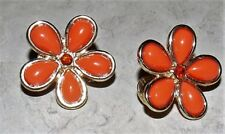 Vintage Styled Flower Goldtone Coral Plastic Stone Clip Earrings Costume Jewelry