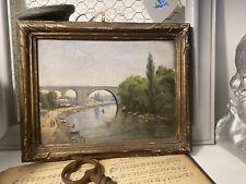 Peinture ancienne a Huile sur Bois La Marne Nogent Sur Marne Vers Le VIADUC