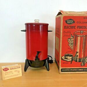 Vintage 1972 Mirro Matic Coffee Percolator Urn Poppy Red Rocket Look 22 Cups BSH