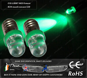 LED E10 Screw Base LLB987 Green Interior Dashboard Speedometer Light Bulbs 12v