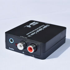 Dolby Digital Optical Coaxial Toslink to Analog RCA L/R Stereo Audio Converter &
