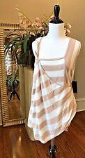 NWT L.a.m.b. Yarn Dyed Linen Blend Stripe Tank Top Rose-Smoke/White $350 - P/S