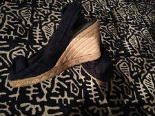 Castaner black espadrilles shoes sandals size EU 36 UK 3 slingback wedge heels