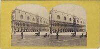 Venezia Italia Palais Ducale Vintage Stereo Albumina Ca 1868