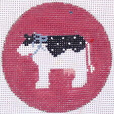 Cow Christmas Ornament Hand Painted Needlepoint Canvas