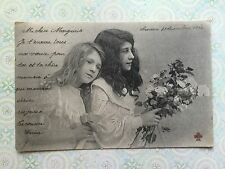 Beautiful Girls Children Flowers French  Original Vintage Postcard c.1904