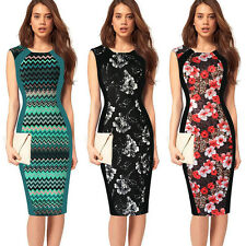 Women Summer Floral Print Smart Celebrity Bodycon Casual Work Midi Pencil Dress