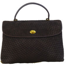 Authentic BALLY Logos Quilted Hand Bag Suede Skin Leather Brown Italy 02ED682