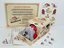 Vintage Pound Puppies Gray Newborn, Box Papers Outfit Tag Stickers 1985 Tonka