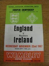 22/11/1967 England v Northern Ireland [At Wembley] (folded, score on front, team