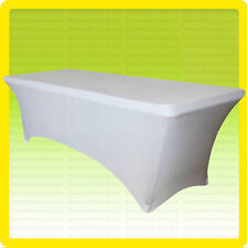 Spandex 4' Fitted Tablecloth Wedding Banquet Party Stretch Table Cover, White