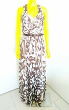 MELINDA ENG 100% Silk Long Brown & White Gown Dress Size 2 Made in USA