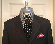 VITTORIO ST ANGELO 2 Piece Charcoal Pinstripe Suit 40 Long Dbl Pleated Pants