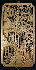 Chinese Gilt Wood Carving Panel Good Relief and Piercing Trees People Buildings