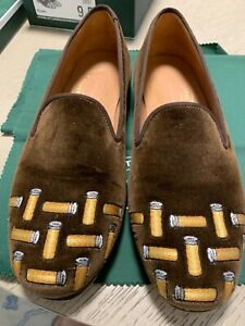 Stubbs & Wootton Men's Slipper Loafer Shoes Size 9.5 Brown Shells Palm Beach