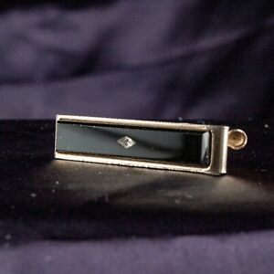 VINTAGE Black with Crystal and with White Gold Tone Tie Clasp Clip