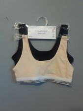 Calvin Klein Girls Bralette Bra M size 7-8 pack of 2 ivory and black color
