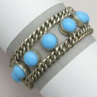 Vtg Early Mexican Taxco Sterling Silver Turquoise Glass Curb Chain Bracelet
