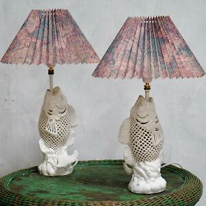 Pair Of Vintage Koi Carp Ceramic Table Lamps
