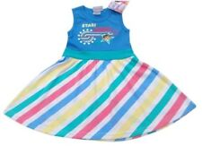 Girls Summer Rainbow Dress 2-3 Dora Blue Pink White Green Yellow Multi Cotton