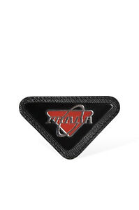 Men's Prada Pin Brooch in Black Saffiano Leather and Red Glass Plastic with Logo
