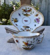 Finest Antique 19thC Dresden Helena Wolfsohn Porcelain Cup and Saucer - Birds