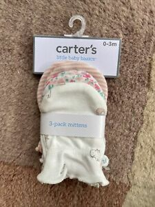 Carter's Girls Animals / Floral / Stripped Mittens Set Of 3 Infant Sz  0-3 Month