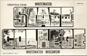 White Water Wisconsin~State College Campus Buildings~Large Letter~1950s RPPC