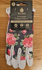 Kent & Stowe, Premium Leather Ladies Gardening Gloves, Grey Peony, Size S Small