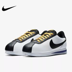 Nike Cortez Basic Leather White/Amarillo/Black BV2527-100 Men's Size 8.5