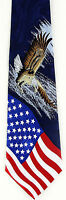 Men's Flag Neck Tie American Flag Patriotic America Eagle Blue Necktie