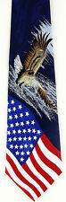 Men's Flag Neck Tie American Flag Patriotic America Eagle Blue Necktie