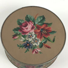 Vintage Guildcraft Metal Tin Flowers Needlepoint Design Container Lid EMPTY