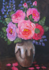 """ORIGINAL ACEO 3.5""""x2.5"""" Acrylic painting,Flowers In A Vase, miniature Art"""